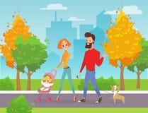 Wektorowa ilustracja szczęśliwa rodzina chodzi w miasto parku Ojcuje, matkuje, dziecko i pies wpólnie outdoors mąż ilustracja wektor