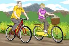 Starszy jazda rower Fotografia Royalty Free