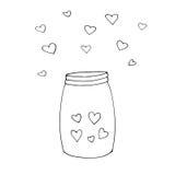 Wektorowa ilustracja Szczęśliwa walentynki ` s dnia karta Ręka rysująca butelka z miłość składnikami lub słój Projekta element dl Ilustracji