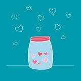 Wektorowa ilustracja Szczęśliwa walentynki ` s dnia karta Ręka rysująca butelka z miłość składnikami lub słój Projekta element dl Ilustracja Wektor