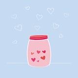 Wektorowa ilustracja Szczęśliwa walentynki ` s dnia karta Ręka rysująca butelka z miłość składnikami lub słój Projekta element dl Royalty Ilustracja
