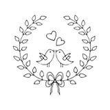 Wektorowa ilustracja Szczęśliwa walentynki ` s dnia karta Ręka rysująca z miłość ptakami Projekta element dla poślubiać lub walen Ilustracja Wektor