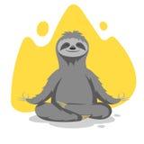 Wektorowa ilustracja szczęśliwej ślicznej opieszałości joga ćwiczy ćwiczenie ilustracja wektor
