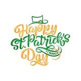 Wektorowa ilustracja Szczęśliwy świętego Patrick s dnia logotyp Ręka kreślący Irlandzki świętowanie projekt Piwny festiwal Fotografia Royalty Free
