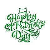Wektorowa ilustracja Szczęśliwy świętego Patrick s dnia logotyp Ręka kreślący Irlandzki świętowanie projekt Piwny festiwal Zdjęcie Stock