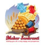 Wektorowa ilustracja Szczęśliwy Makar Sankranti India festiwalu wakacyjny tło royalty ilustracja