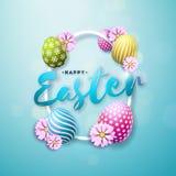 Wektorowa ilustracja Szczęśliwy Wielkanocny wakacje z Malującego i wiosny kwiatem na Błyszczącym Błękitnym tle international royalty ilustracja
