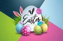 Wektorowa ilustracja Szczęśliwy Wielkanocny wakacje z Malującym jajka i wiosny kwiatem na Kolorowym tle international royalty ilustracja