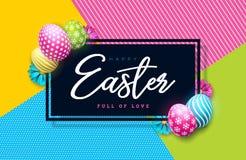 Wektorowa ilustracja Szczęśliwy Wielkanocny wakacje z Malującym jajka i wiosny kwiatem na Kolorowym tle international ilustracja wektor