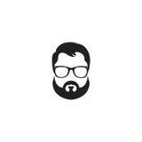 Wektorowa ilustracja szkła i wąsy z brodą odizolowywającą na białym tle Zdjęcia Royalty Free