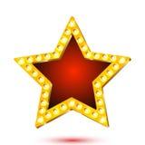Wektorowa ilustracja sztandar czerwieni gwiazdy rama z światłami Fotografia Royalty Free