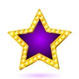 Wektorowa ilustracja sztandar purpur gwiazdy rama z światłami Fotografia Royalty Free