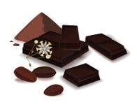 Wektorowa ilustracja, sztandar z kakaowym proszkiem, czekoladowy bar i kakaowe fasole, Druk, szablon, projekta element dla royalty ilustracja