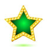 Wektorowa ilustracja sztandar zieleni gwiazdy rama z światłami Zdjęcie Royalty Free