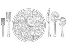 Wektorowa ilustracja talerz, nóż, łyżka i rozwidlenie, Cutlery set royalty ilustracja