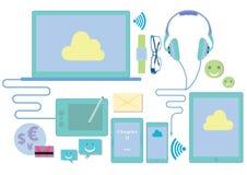 Wektorowa ilustracja technologia komunikacyjna przyrząda Zdjęcia Stock