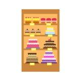 Wektorowa ilustracja torta sklepu pokaz Zdjęcia Stock
