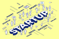 Wektorowa ilustracja trójwymiarowy biznesowy słowa rozpoczęcie w ilustracji