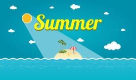 Wektorowa ilustracja Tropikalna lato wyspa Obrazy Stock