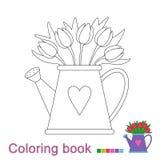 Wektorowa ilustracja tulipanowy bukiet w podlewanie puszce dla kolorystyki książki ilustracji