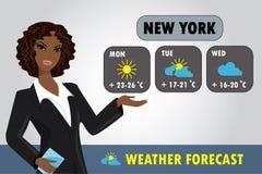 Wektorowa ilustracja TV pogody reporter przy pracą ilustracji