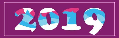 Wektorowa ilustracja: typograficzny skład nowy rok 2019 royalty ilustracja