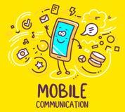 Wektorowa ilustracja uśmiechu charakteru telefon macha wita w obraz stock