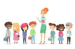 Wektorowa ilustracja uczeń grupa z nauczycielem stoi wpólnie Chłopiec i dziewczyny wraz z kobieta nauczycielem ilustracja wektor