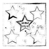Wektorowa ilustracja w grunge stylu - czarna gwiazdowa sylwetka Projektuje szablon dla plakata, sztandar, flayer, powitanie Zdjęcia Stock