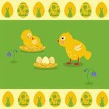 Wektorowa ilustracja w mieszkanie stylu Halizn gniazdowi i żółci kurczątka royalty ilustracja