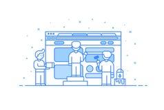 Wektorowa ilustracja w płaskim konturze i liniowym stylu Pojęcie sieć interfejsu użytkownika i projekta rozwój - Zdjęcia Royalty Free