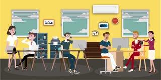 Wektorowa ilustracja w Sa mieszkania stylu kobiety, mężczyźni i szef w mundurze w pokoju konferencyjnym z komputeru osobistego la royalty ilustracja
