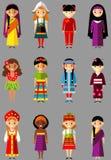 Wektorowa ilustracja wielokulturowi krajowi dzieci, ludzie w tradycyjnych kostiumach Obrazy Royalty Free