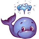 Wektorowa ilustracja wieloryb w kreskówka stylu Zdjęcia Stock