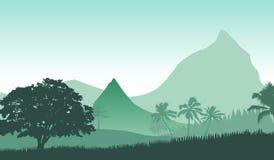 Wektorowa ilustracja wschód słońca panoramy krajobraz w tropikalnych górach ilustracja wektor