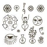 Wektorowa ilustracja wszystkie święta geometria i oko symbol kobiecy i widzii royalty ilustracja