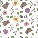 Wektorowa ilustracja wzór z kwiatami, liście, niedźwiedzie royalty ilustracja