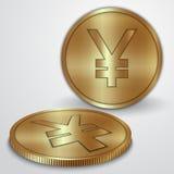 Wektorowa ilustracja złociste monety z japończykiem Fotografia Royalty Free