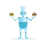 Wektorowa ilustracja z śliczną larwą, kucharzem, tortem i kanapką, ilustracji