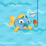 Wektorowa ilustracja z śmieszną ryba i truskawką humor ilustracji