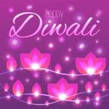 Wektorowa ilustracja z dekoracyjnym kwiatem zaświeca girlandy dla Diwali Ilustracja Wektor