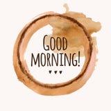 Wektorowa ilustracja z ` dnia dobrego ` zwrotem i nalewa kawowego kleks Zdjęcie Stock