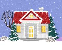 Wektorowa ilustracja z dom na wsi w mieszkanie stylu Zdjęcie Stock