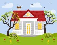 Wektorowa ilustracja z dom na wsi w mieszkanie stylu Fotografia Royalty Free