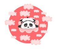 Wektorowa ilustracja z dosypiania lub marzyć pandą w różowych chmurach Dziecko, dzieci, kawaii druk ilustracja wektor