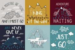 Wektorowa ilustracja z halnymi szczytami kończy graficznych elementy Góry dzwonią i muszę iść ilustracji