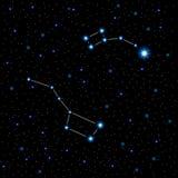 Wektorowa ilustracja z jaśnienie gwiazdozbiorami w nocnym niebie i gwiazdami Obraz Stock