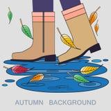 Wektorowa ilustracja z jesieni kałużą i butami Zdjęcia Stock