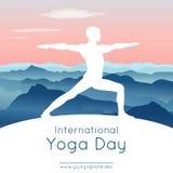 Wektorowa ilustracja z jogami w joga pozie Zdjęcia Royalty Free