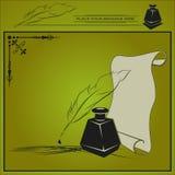Wektorowa ilustracja z kałamarzem, piórem i papierem, Obraz Royalty Free